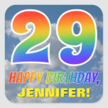"[ Thumbnail: Rainbow Look ""29"" & ""Happy Birthday"", Clouds, Sky Sticker ]"