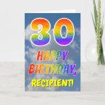 "[ Thumbnail: Rainbow Look ""30"" & ""Happy Birthday"", Clouds, Sky Card ]"