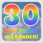 "[ Thumbnail: Rainbow Look ""30"" & ""Happy Birthday"", Clouds, Sky Sticker ]"