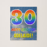 "[ Thumbnail: Rainbow Look ""30"" & ""Happy Birthday"", Cloudy Sky Jigsaw Puzzle ]"