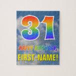 "[ Thumbnail: Rainbow Look ""31"" & ""Happy Birthday"", Cloudy Sky Jigsaw Puzzle ]"