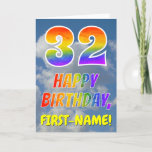 "[ Thumbnail: Rainbow Look ""32"" & ""Happy Birthday"", Clouds, Sky Card ]"