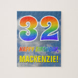 "[ Thumbnail: Rainbow Look ""32"" & ""Happy Birthday"", Cloudy Sky Jigsaw Puzzle ]"