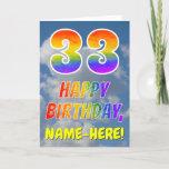 "[ Thumbnail: Rainbow Look ""33"" & ""Happy Birthday"", Clouds, Sky Card ]"