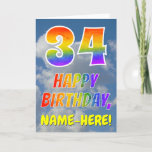 "[ Thumbnail: Rainbow Look ""34"" & ""Happy Birthday"", Clouds, Sky Card ]"