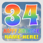 "[ Thumbnail: Rainbow Look ""34"" & ""Happy Birthday"", Clouds, Sky Sticker ]"