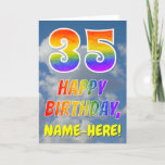 "[ Thumbnail: Rainbow Look ""35"" & ""Happy Birthday"", Clouds, Sky Card ]"