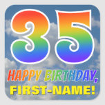 "[ Thumbnail: Rainbow Look ""35"" & ""Happy Birthday"", Clouds, Sky Sticker ]"