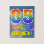"[ Thumbnail: Rainbow Look ""35"" & ""Happy Birthday"", Cloudy Sky Jigsaw Puzzle ]"