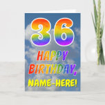 "[ Thumbnail: Rainbow Look ""36"" & ""Happy Birthday"", Clouds, Sky Card ]"