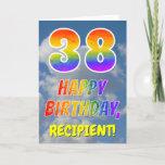 "[ Thumbnail: Rainbow Look ""38"" & ""Happy Birthday"", Clouds, Sky Card ]"