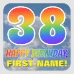 "[ Thumbnail: Rainbow Look ""38"" & ""Happy Birthday"", Clouds, Sky Sticker ]"