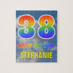 "[ Thumbnail: Rainbow Look ""38"" & ""Happy Birthday"", Cloudy Sky Jigsaw Puzzle ]"