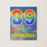 "[ Thumbnail: Rainbow Look ""39"" & ""Happy Birthday"", Cloudy Sky Jigsaw Puzzle ]"
