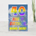 "[ Thumbnail: Rainbow Look ""40"" & ""Happy Birthday"", Clouds, Sky Card ]"