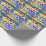 """[ Thumbnail: Rainbow Look """"40"""" & """"Happy Birthday"""", Clouds, Sky Wrapping Paper ]"""