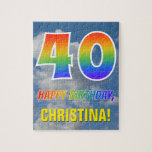 "[ Thumbnail: Rainbow Look ""40"" & ""Happy Birthday"", Cloudy Sky Jigsaw Puzzle ]"