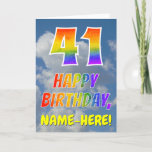 "[ Thumbnail: Rainbow Look ""41"" & ""Happy Birthday"", Clouds, Sky Card ]"