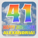 "[ Thumbnail: Rainbow Look ""41"" & ""Happy Birthday"", Clouds, Sky Sticker ]"