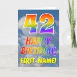 "[ Thumbnail: Rainbow Look ""42"" & ""Happy Birthday"", Clouds, Sky Card ]"
