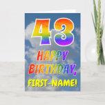 "[ Thumbnail: Rainbow Look ""43"" & ""Happy Birthday"", Clouds, Sky Card ]"