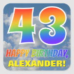 "[ Thumbnail: Rainbow Look ""43"" & ""Happy Birthday"", Clouds, Sky Sticker ]"