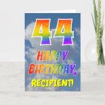 "[ Thumbnail: Rainbow Look ""44"" & ""Happy Birthday"", Clouds, Sky Card ]"