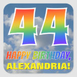 "[ Thumbnail: Rainbow Look ""44"" & ""Happy Birthday"", Clouds, Sky Sticker ]"