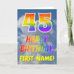 "[ Thumbnail: Rainbow Look ""45"" & ""Happy Birthday"", Clouds, Sky Card ]"