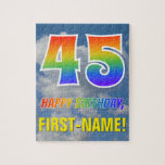 "[ Thumbnail: Rainbow Look ""45"" & ""Happy Birthday"", Cloudy Sky Jigsaw Puzzle ]"