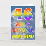 "[ Thumbnail: Rainbow Look ""46"" & ""Happy Birthday"", Clouds, Sky Card ]"