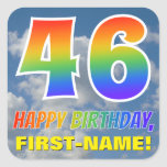 "[ Thumbnail: Rainbow Look ""46"" & ""Happy Birthday"", Clouds, Sky Sticker ]"