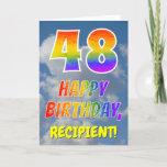 "[ Thumbnail: Rainbow Look ""48"" & ""Happy Birthday"", Clouds, Sky Card ]"