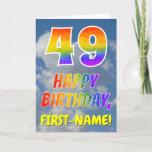 "[ Thumbnail: Rainbow Look ""49"" & ""Happy Birthday"", Clouds, Sky Card ]"