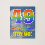 "[ Thumbnail: Rainbow Look ""49"" & ""Happy Birthday"", Cloudy Sky Jigsaw Puzzle ]"