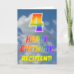 "[ Thumbnail: Rainbow Look ""4"" & ""Happy Birthday"", Clouds, Sky Card ]"