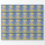 "[ Thumbnail: Rainbow Look ""4"" & ""Happy Birthday"", Clouds, Sky Wrapping Paper ]"