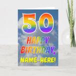"[ Thumbnail: Rainbow Look ""50"" & ""Happy Birthday"", Clouds, Sky Card ]"