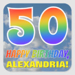 "[ Thumbnail: Rainbow Look ""50"" & ""Happy Birthday"", Clouds, Sky Sticker ]"