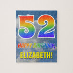 "[ Thumbnail: Rainbow Look ""52"" & ""Happy Birthday"", Cloudy Sky Jigsaw Puzzle ]"
