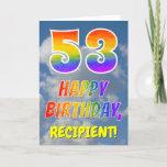 "[ Thumbnail: Rainbow Look ""53"" & ""Happy Birthday"", Clouds, Sky Card ]"