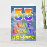 "[ Thumbnail: Rainbow Look ""55"" & ""Happy Birthday"", Clouds, Sky Card ]"
