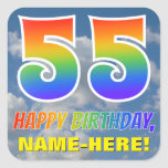 "[ Thumbnail: Rainbow Look ""55"" & ""Happy Birthday"", Clouds, Sky Sticker ]"