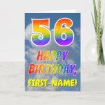 "[ Thumbnail: Rainbow Look ""56"" & ""Happy Birthday"", Clouds, Sky Card ]"