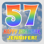 "[ Thumbnail: Rainbow Look ""57"" & ""Happy Birthday"", Clouds, Sky Sticker ]"