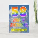 "[ Thumbnail: Rainbow Look ""58"" & ""Happy Birthday"", Clouds, Sky Card ]"