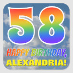 "[ Thumbnail: Rainbow Look ""58"" & ""Happy Birthday"", Clouds, Sky Sticker ]"