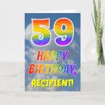 "[ Thumbnail: Rainbow Look ""59"" & ""Happy Birthday"", Clouds, Sky Card ]"