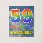 "[ Thumbnail: Rainbow Look ""59"" & ""Happy Birthday"", Cloudy Sky Jigsaw Puzzle ]"