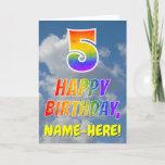 "[ Thumbnail: Rainbow Look ""5"" & ""Happy Birthday"", Clouds, Sky Card ]"